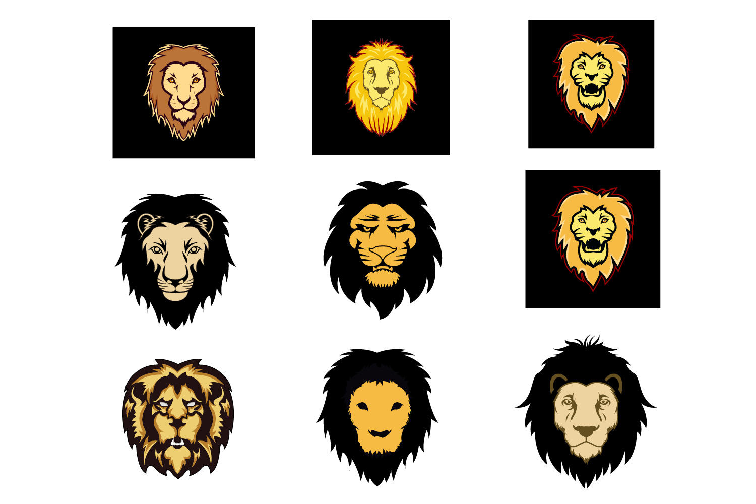 Download Free Lion Logo Set Graphic By Graphicrun123 Creative Fabrica for Cricut Explore, Silhouette and other cutting machines.