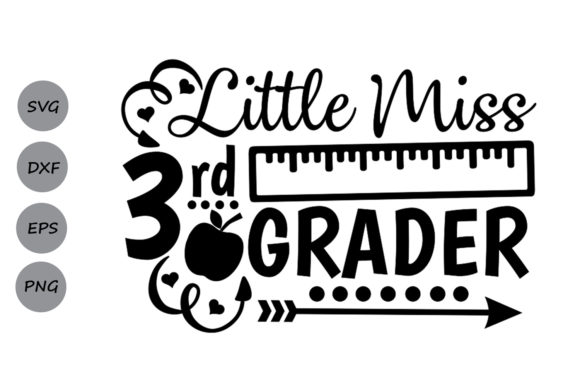 Download Free Little Miss 3rd Grade Svg Graphic By Cosmosfineart Creative for Cricut Explore, Silhouette and other cutting machines.