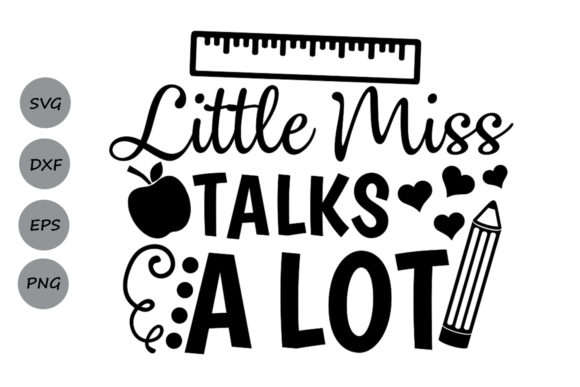 Download Free Little Miss Talks A Lot Svg Graphic By Cosmosfineart Creative for Cricut Explore, Silhouette and other cutting machines.