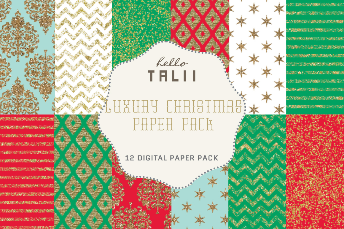 Download Free Luxury Christmas Paper Pack Graphic By Hello Talii Creative for Cricut Explore, Silhouette and other cutting machines.