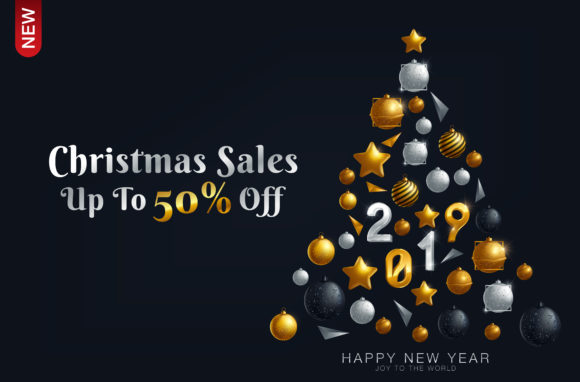 Download Free Luxury Christmas Sale Background Poster With Golden Balls Graphic for Cricut Explore, Silhouette and other cutting machines.