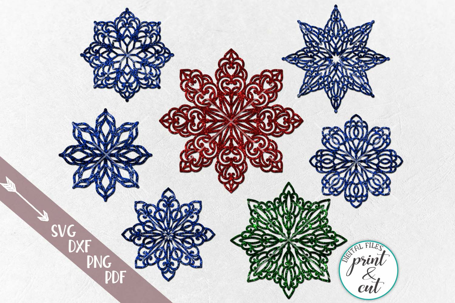 Download Free Luxury Snowflakes Graphic By Cornelia Creative Fabrica for Cricut Explore, Silhouette and other cutting machines.