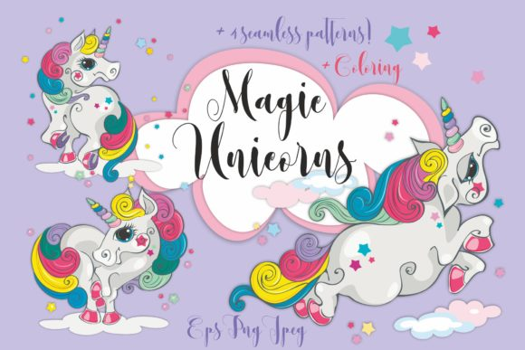 Magical Unicorns Graphic Illustrations By grigaola