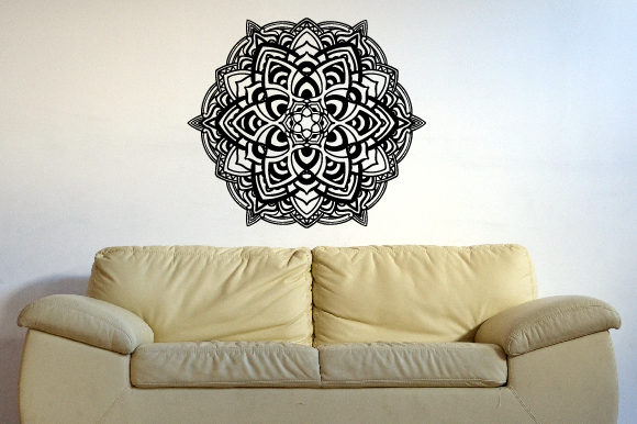 Mandala Pattern in Black 39x39 Inch Wall Art Craft Cut File By Creative Fabrica Crafts