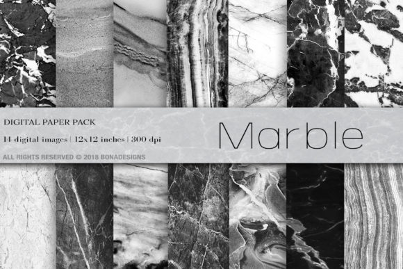 Marble Digital Paper Graphic Backgrounds By BonaDesigns