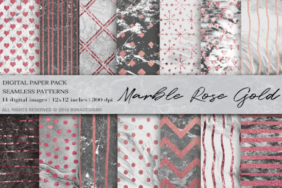 Marble Rose Gold Digital Paper Graphic Patterns By BonaDesigns