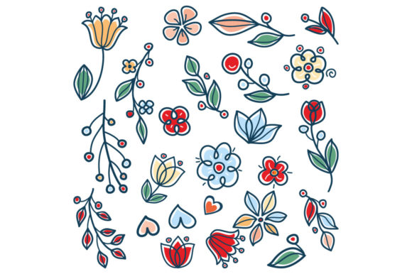 Print on Demand: Meadow Garden Twigs Leaves and Flowers Graphic Illustrations By zoyali