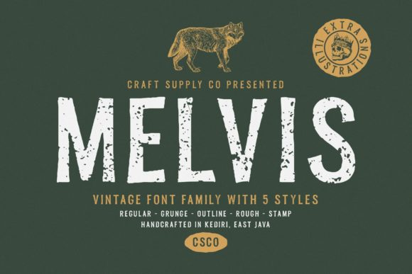 Print on Demand: Melvis Family Display Font By craftsupplyco