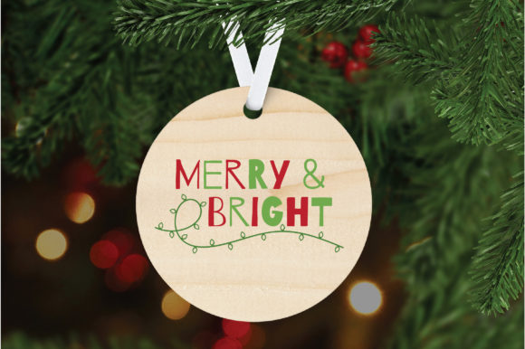 Merry Bright Cut File Christmas Graphic By Oldmarketdesigns