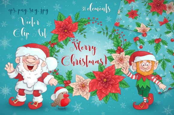 Print on Demand: Merry Christmas Bundle Graphic Illustrations By nicjulia - Image 1