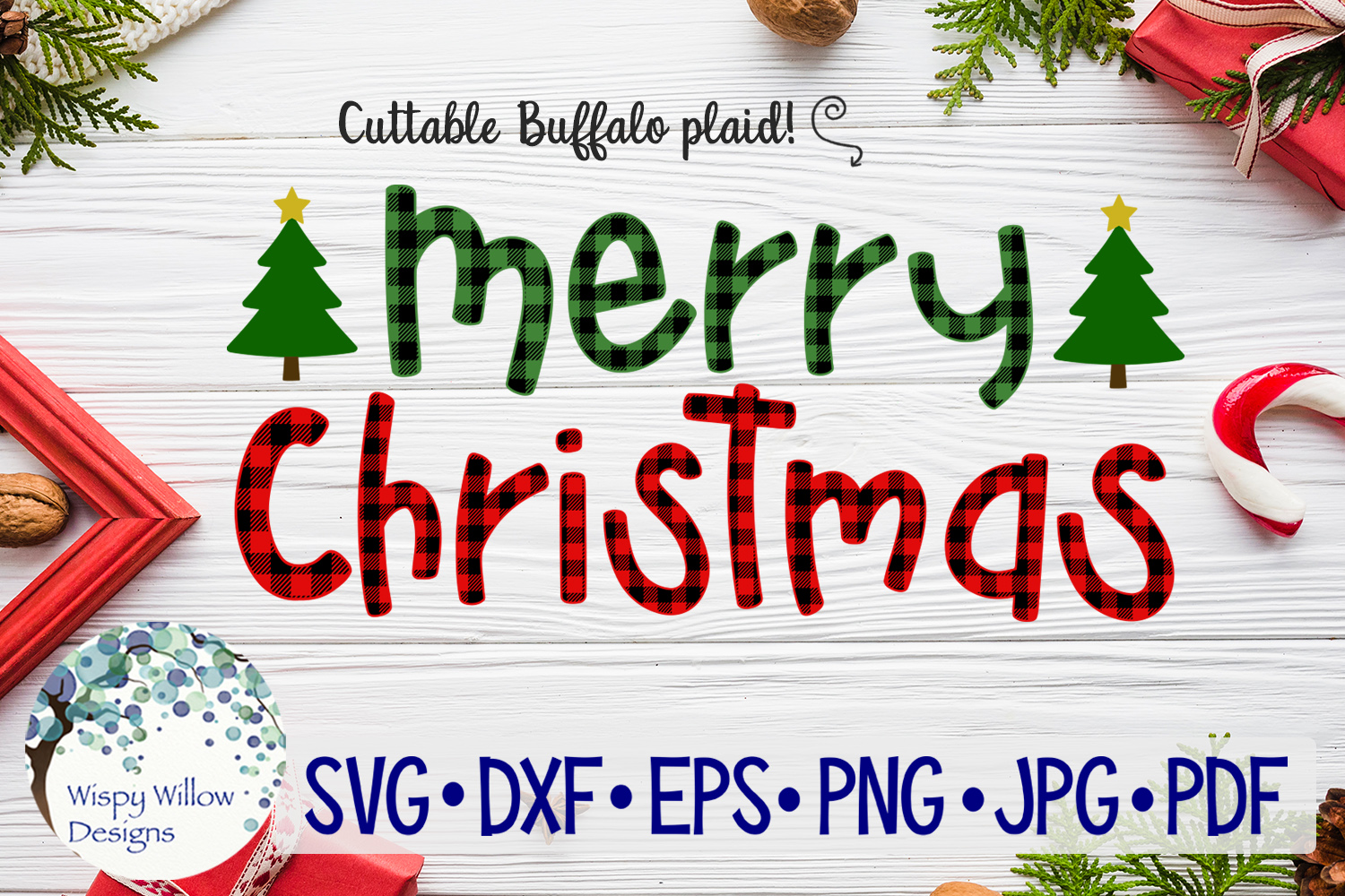Download Free Merry Christmas Plaid Svg Graphic By Wispywillowdesigns for Cricut Explore, Silhouette and other cutting machines.