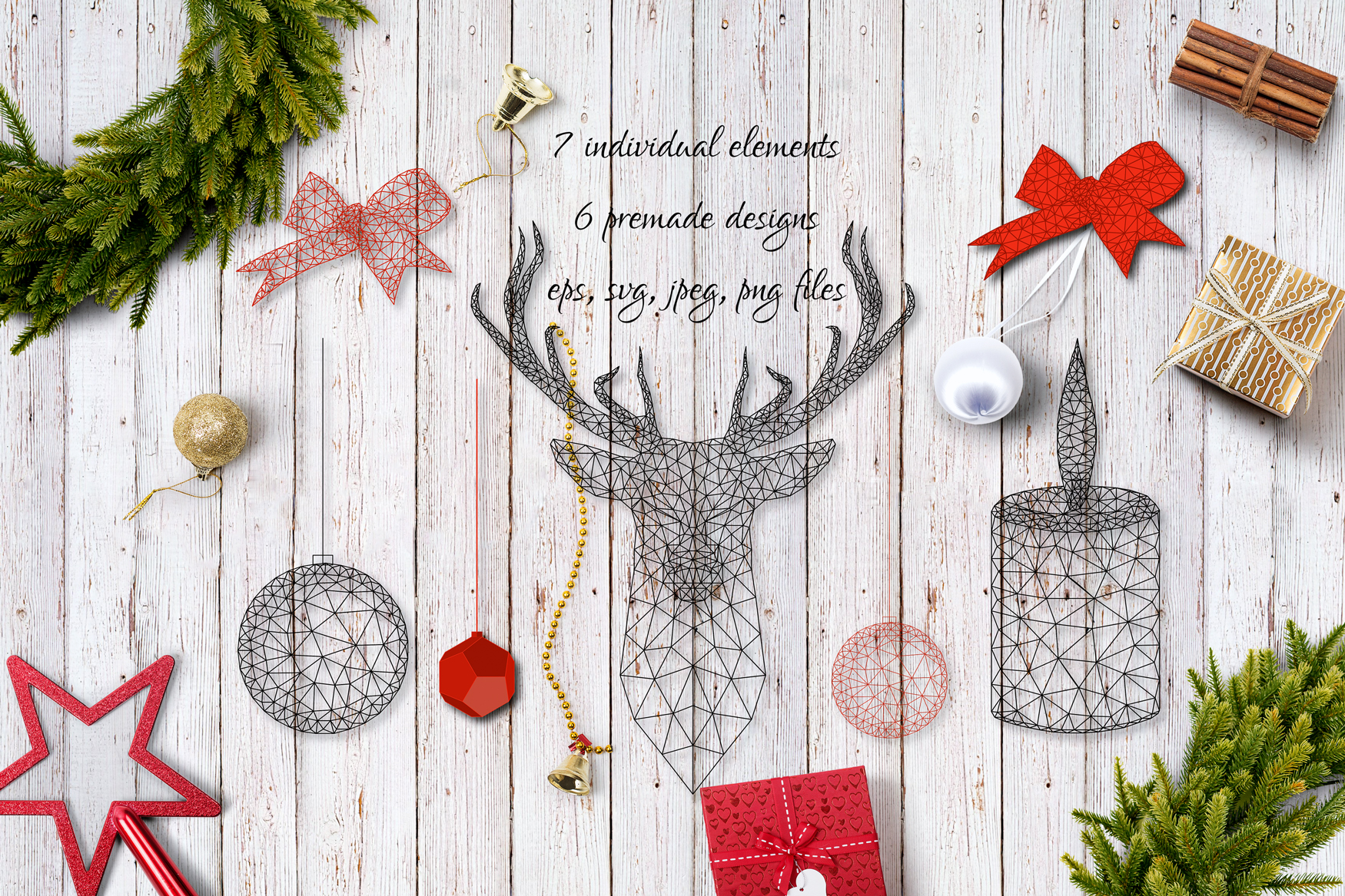 Download Free Minimalistic Low Poly Christmas Graphic By Inkoly Art Creative for Cricut Explore, Silhouette and other cutting machines.