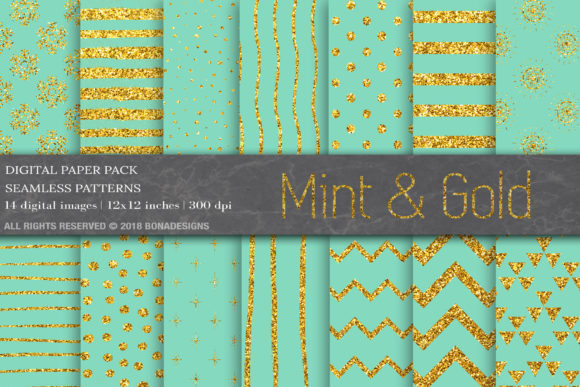 Mint Gold Digital Paper Graphic Patterns By BonaDesigns