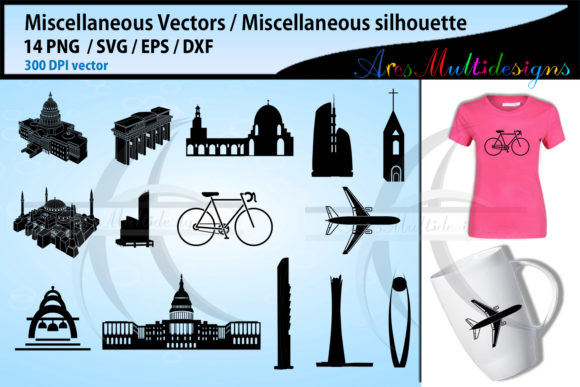 Print on Demand: Miscellaneous Silhouette Svg Graphic Illustrations By Arcs Multidesigns