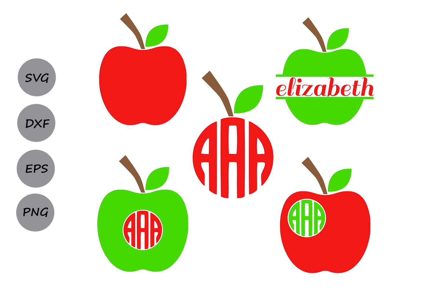 Download Free Monogram Apple Frames Graphic By Cosmosfineart Creative Fabrica for Cricut Explore, Silhouette and other cutting machines.
