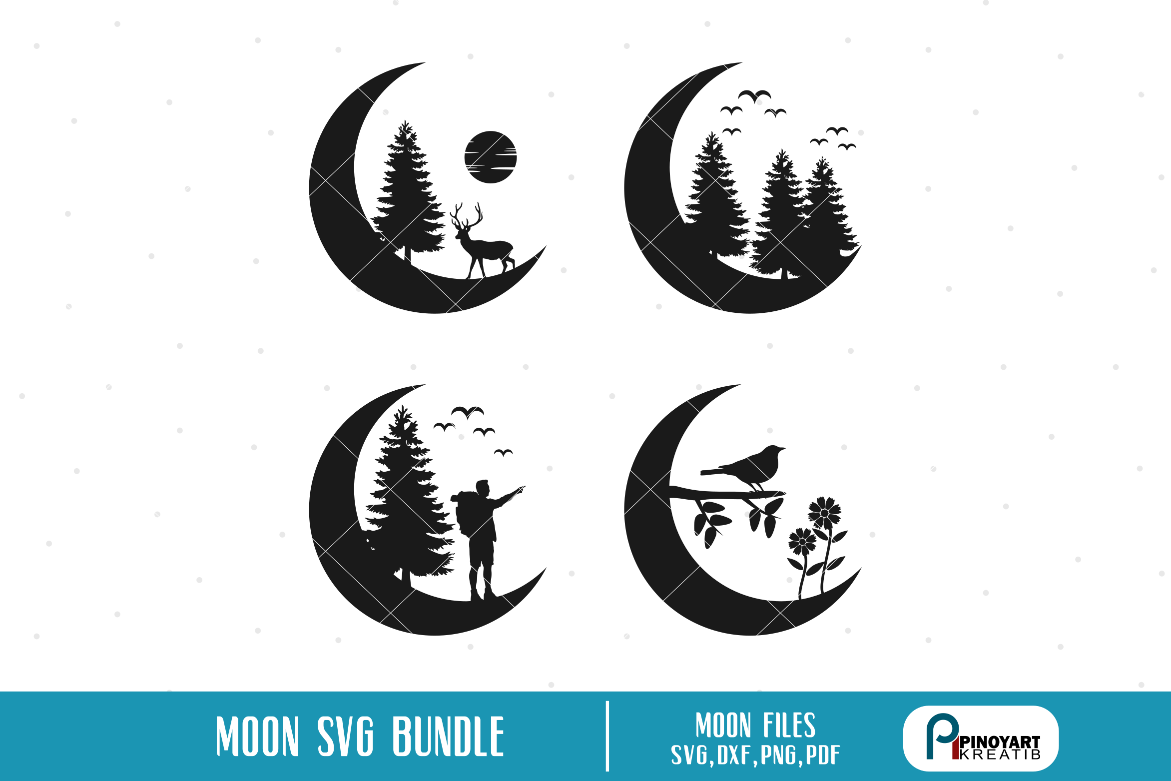 Download Free Moon Silhouette Bundle Graphic By Pinoyartkreatib Creative Fabrica for Cricut Explore, Silhouette and other cutting machines.