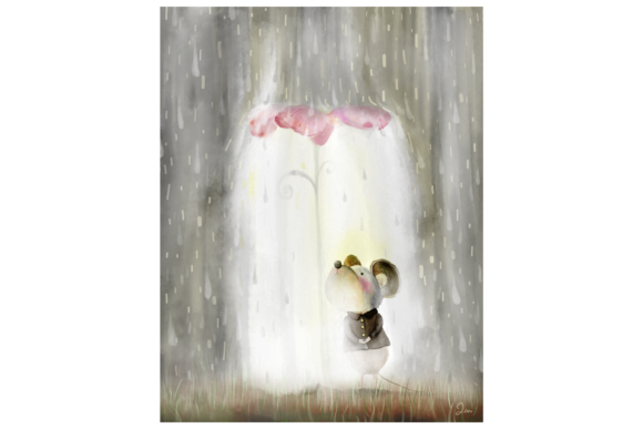 Mouse in the Rain Graphic By Jen Digital Art Image 2