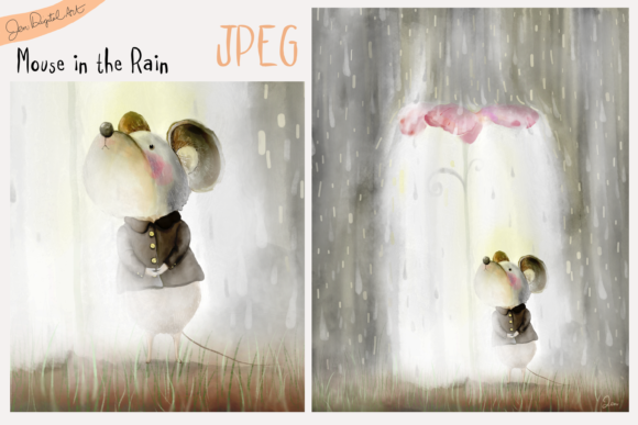 Mouse in the Rain Graphic Illustrations By Jen Digital Art