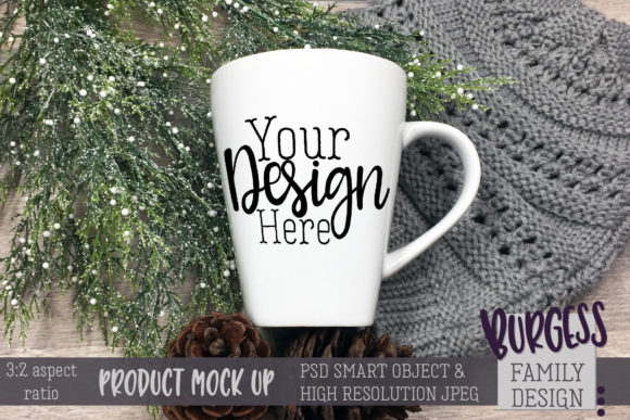 Mug Mock Up 3-2 Aspect Ratio Winter Pine Hat Graphic Product Mockups By burgessfamilydesign