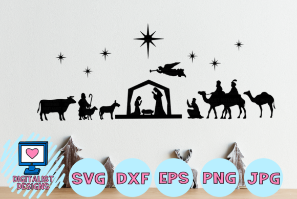 Download Free Nativity Scene Graphic By Digitalistdesigns Creative Fabrica for Cricut Explore, Silhouette and other cutting machines.
