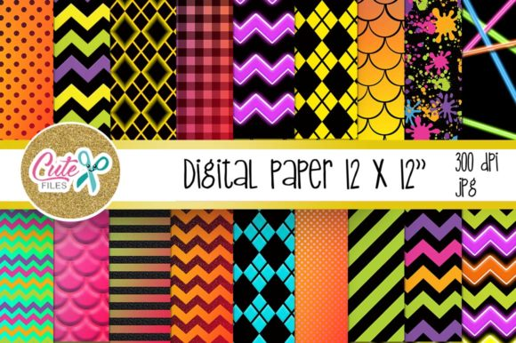 Neon Digital Paper Graphic Textures By Cute files