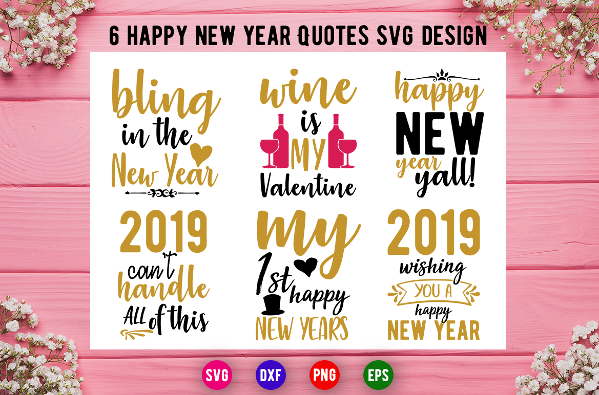 Download Free New Years And Valentine Bundle Graphic By Artistcreativedesign for Cricut Explore, Silhouette and other cutting machines.