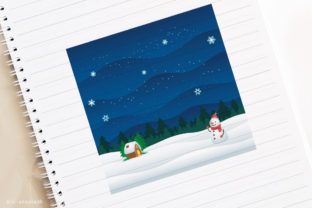 Night Winter in Church with Snowman Graphic By holejohn