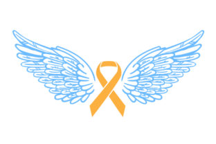 Orange Ribbon with Angel Wings Awareness Craft Cut File By Creative Fabrica Crafts