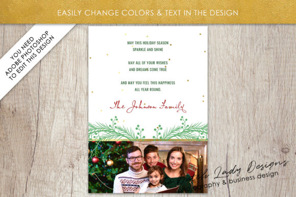Psd Christmas Holidays Greetings Photo Card Template Graphic