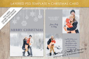 Download Free Psd Christmas Holidays Greetings Photo Card Template Graphic for Cricut Explore, Silhouette and other cutting machines.
