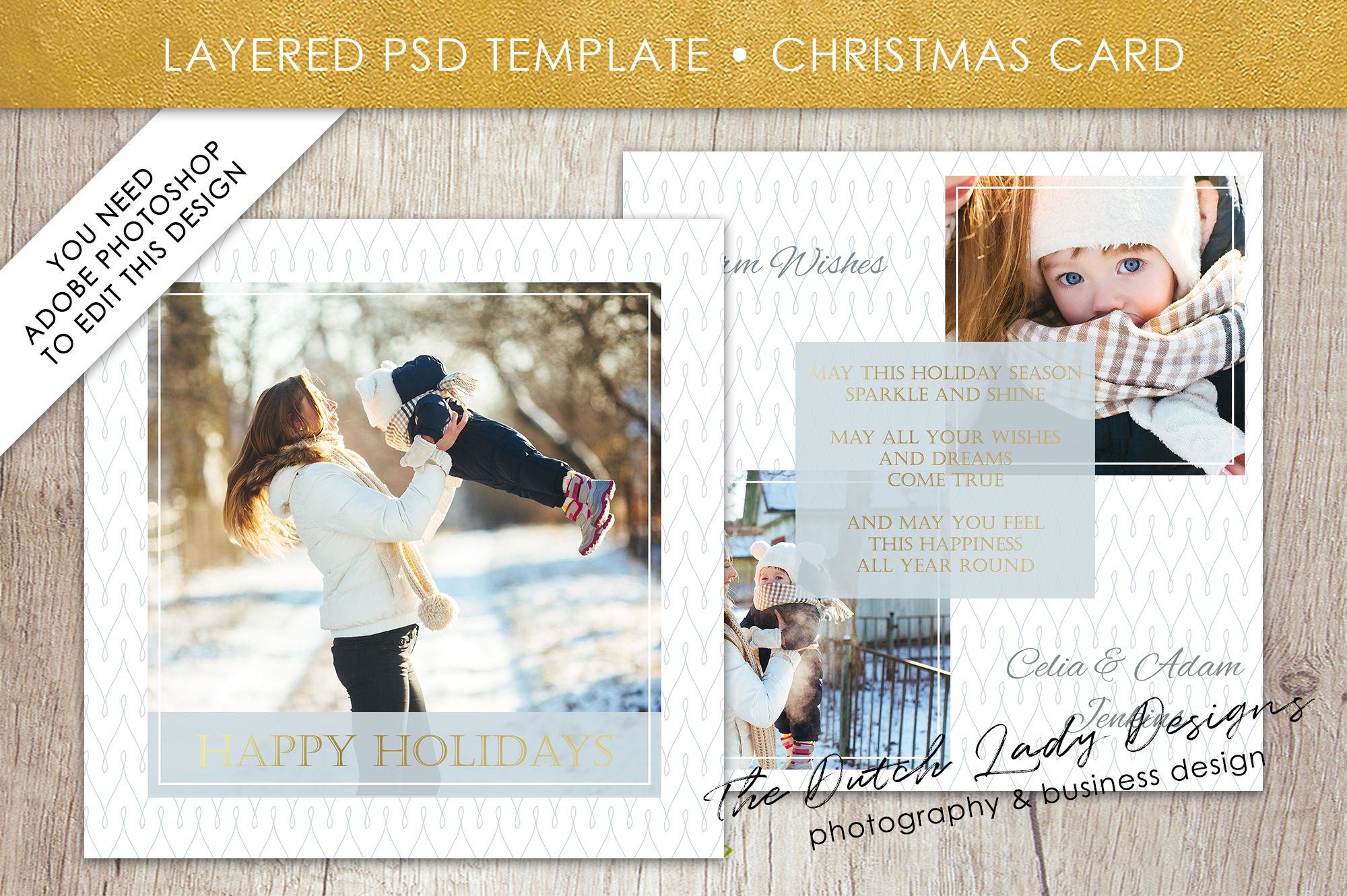 Psd Christmas Holidays Greetings Photo Card Graphic By
