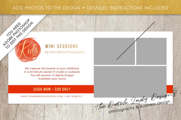 Rack Card Template | Psd Photo Mini Session Rack Card Template Graphic By Daphnepopuliers