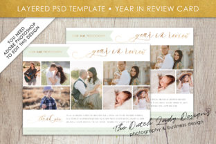 Print on Demand: PSD Year in Review Photo Collage Card Template #1 Graphic Print Templates By daphnepopuliers