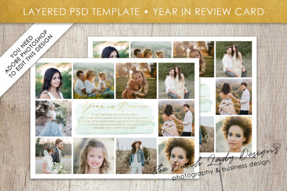 Print on Demand: PSD Year in Review Photo Collage Card Template Graphic Print Templates By daphnepopuliers - Image 1