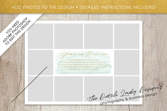 Print on Demand: PSD Year in Review Photo Collage Card Template Graphic Print Templates By daphnepopuliers - Image 2