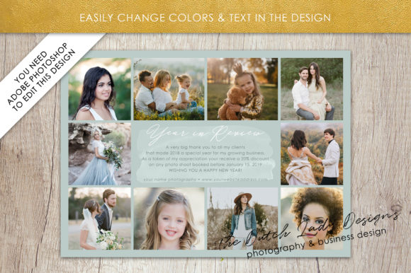 Print on Demand: PSD Year in Review Photo Collage Card Template Graphic Print Templates By daphnepopuliers - Image 3