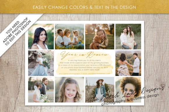 Print on Demand: PSD Year in Review Photo Collage Card Template Graphic Print Templates By daphnepopuliers - Image 4