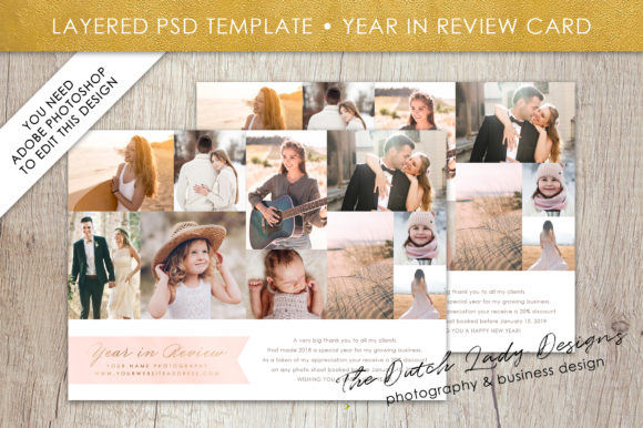 Psd Year In Review Photo Collage Card Template Graphic By