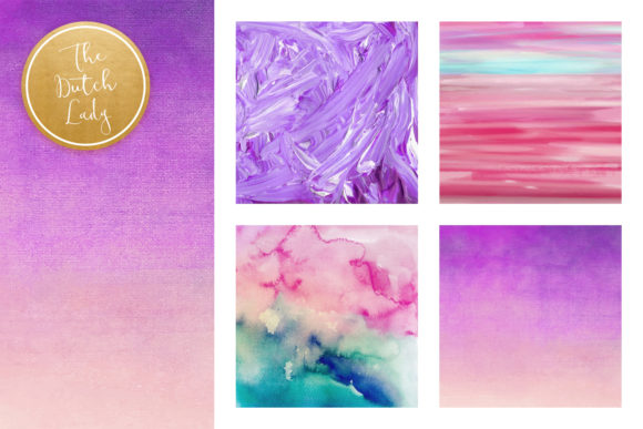 Print on Demand: Paint Texture Scrapbook Papers in Purple, Pink & Blue Graphic Textures By daphnepopuliers - Image 2