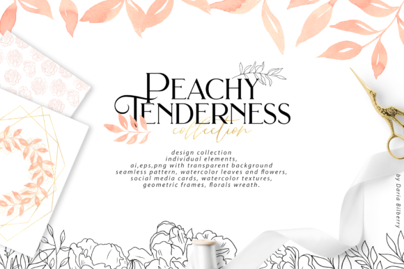 Peachy Tenderness Graphic Illustrations By BilberryCreate