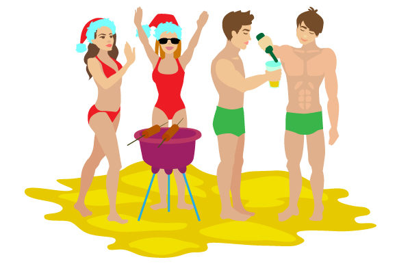 Download Free People In Festive Swimwear Celebrating Christmas On The Beach Svg for Cricut Explore, Silhouette and other cutting machines.
