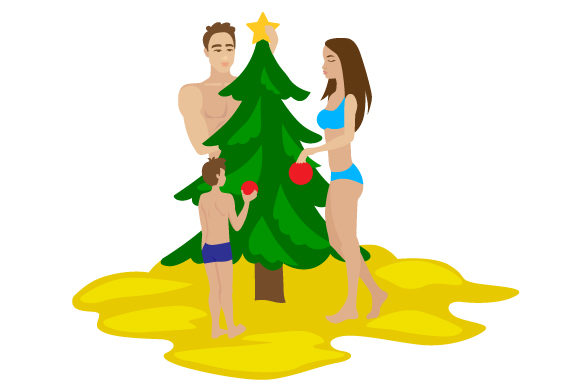 People In Swimwear Decorating Christmas Tree On The Beach Svg Cut
