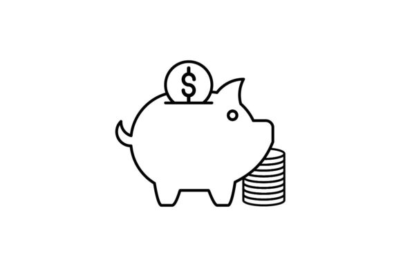 Print on Demand: Piggy Bank Graphic Icons By khld939