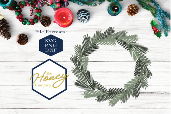 Pine Wreath SVG Graphic Crafts By The Honey Company
