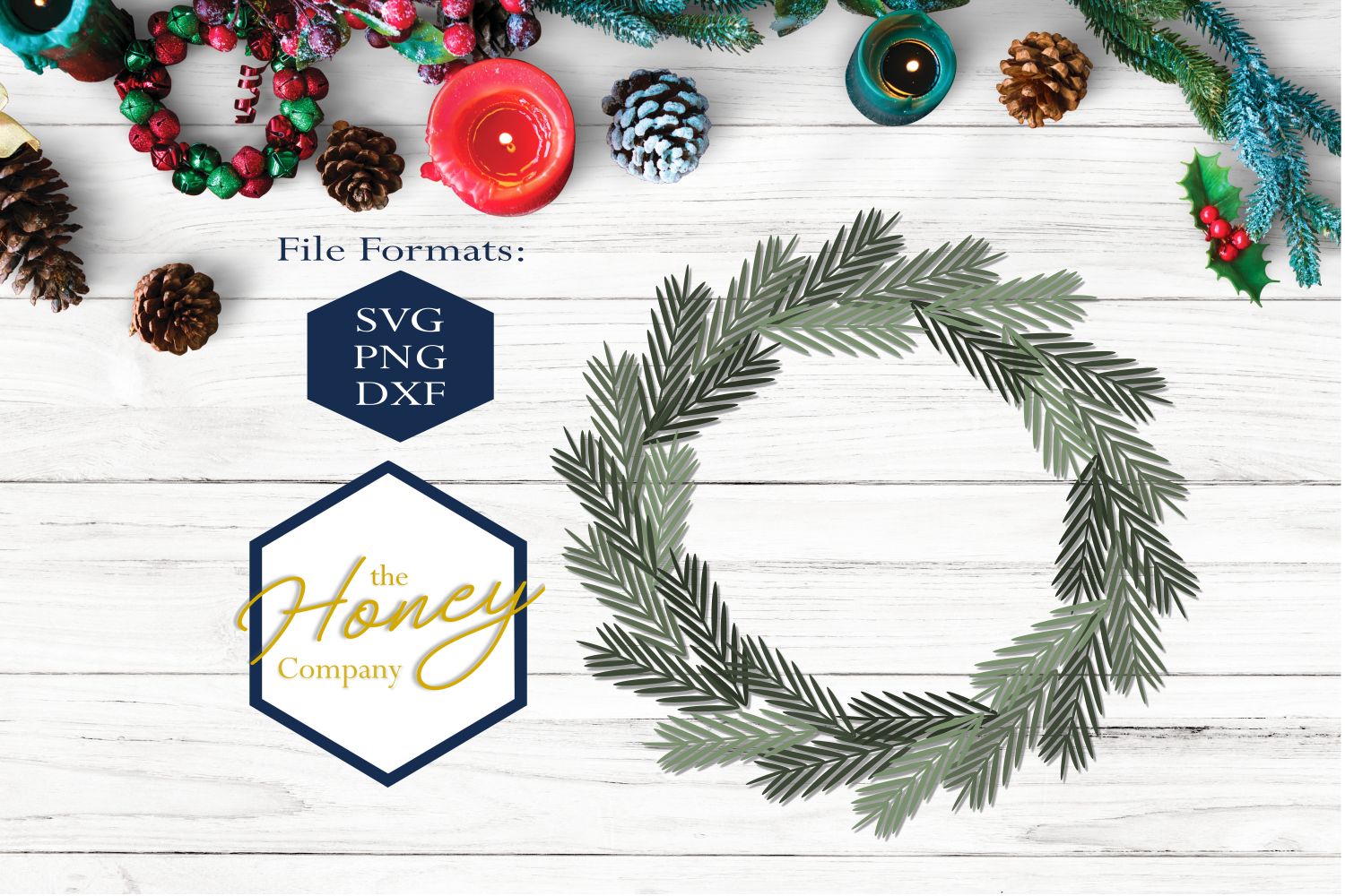 Download Free Pine Wreath Graphic By The Honey Company Creative Fabrica for Cricut Explore, Silhouette and other cutting machines.