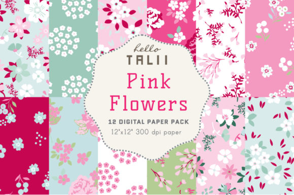 Pink Flowers Digital Papers Graphic Patterns By Hello Talii