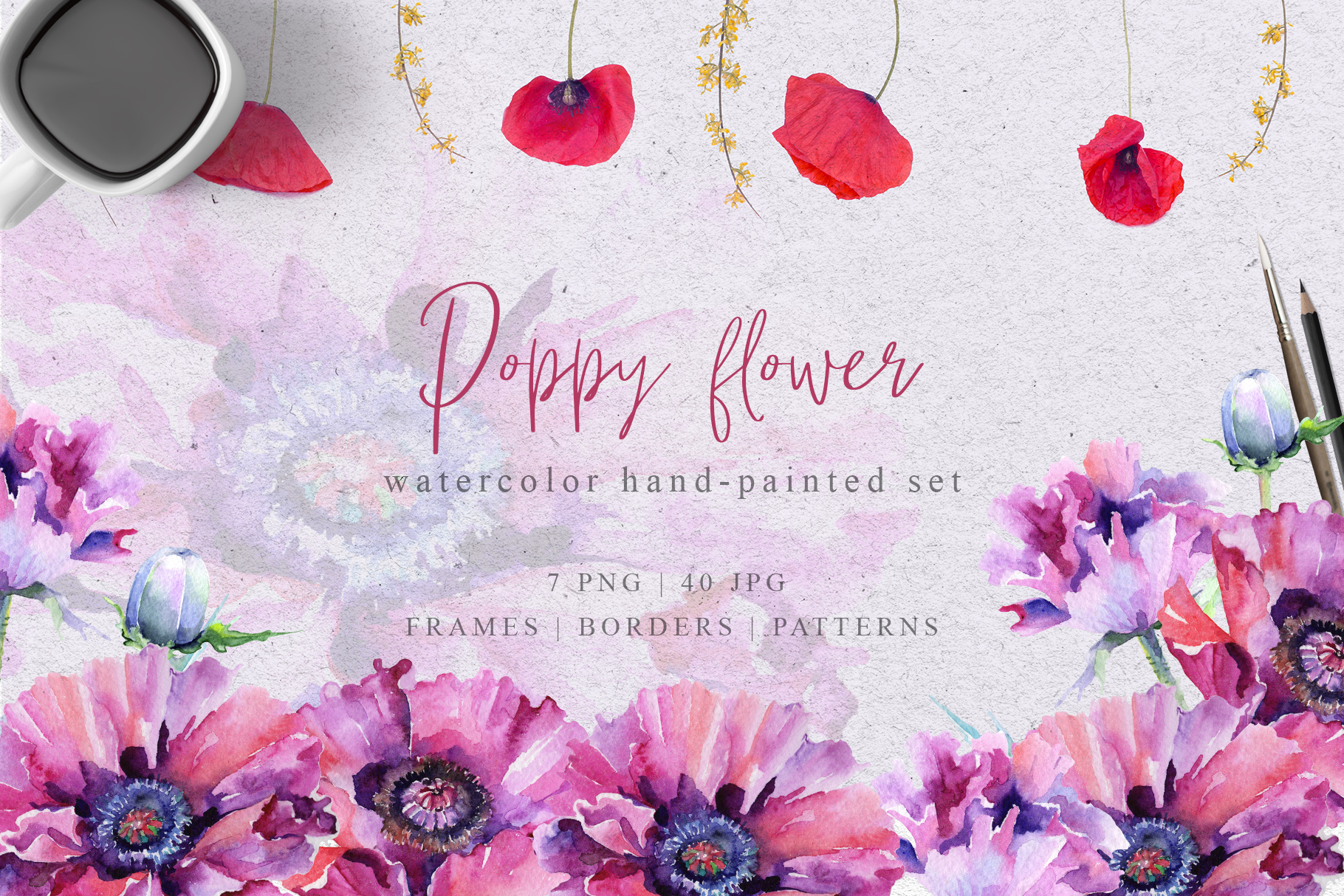 Download Free Pink Poppy Flower Watercolor Set Graphic By Mystocks Creative for Cricut Explore, Silhouette and other cutting machines.