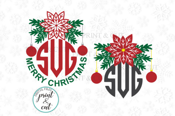 Download Free Poinsettia Flowers Circle Monogram Svg Graphic By Cornelia for Cricut Explore, Silhouette and other cutting machines.