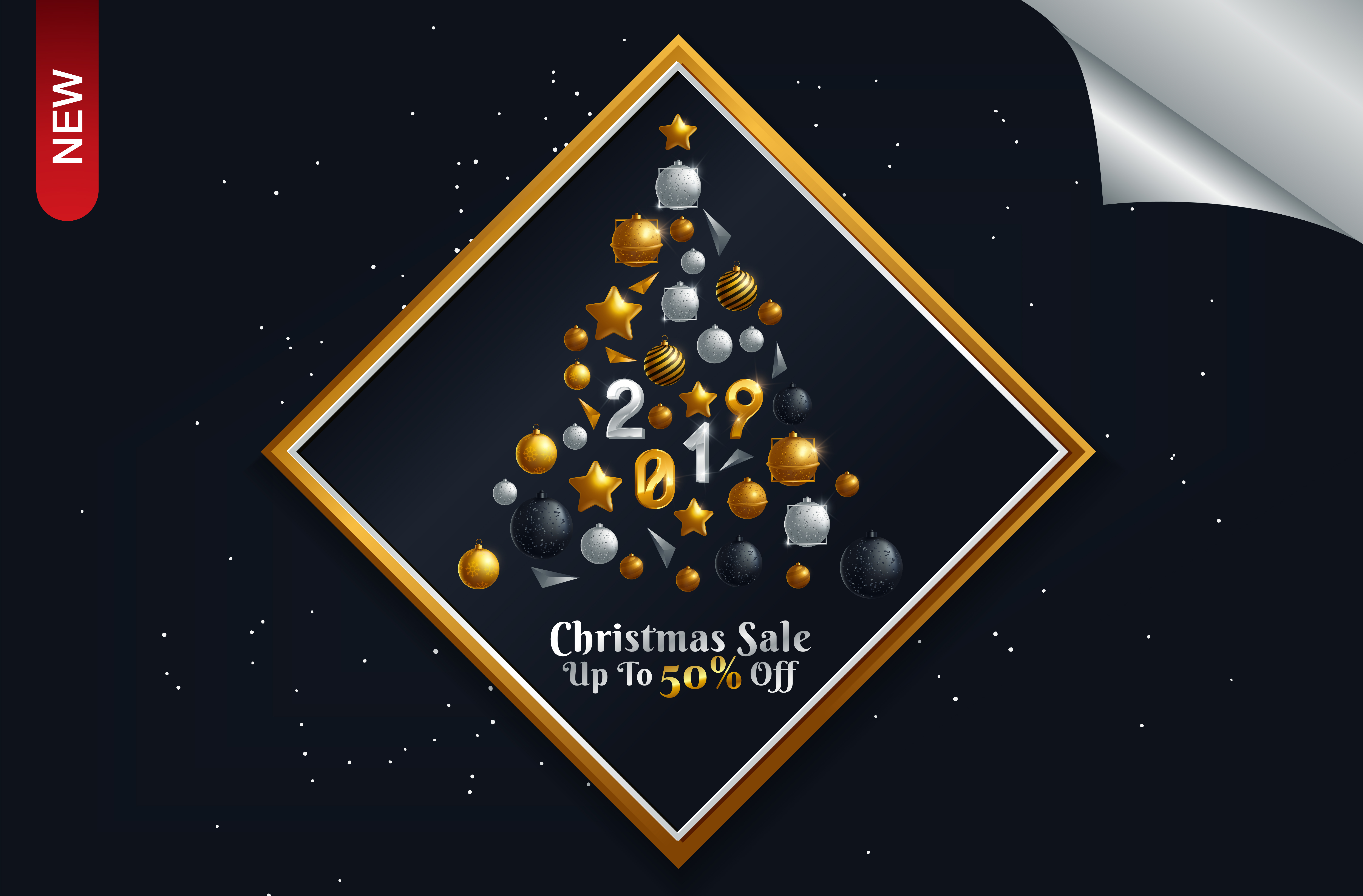 Download Free Poster For Christmas Sale Background Flat Design Graphic By for Cricut Explore, Silhouette and other cutting machines.
