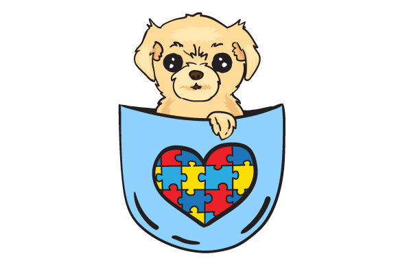 Puppy in a Shirt Pocket with the Autism Puzzle Awareness Craft Cut File By Creative Fabrica Crafts